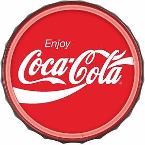 "Coca-Cola LED Neon Light Rope Bar Sign, 12"" Round Bottle Cap Shape, Wall Coke"
