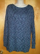 NWT NEW womens size 1X navy blue marled CHAPS l/s drop sleeve tunic sweater $75