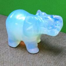 1Pc Gemstone Moonstone Opal White Hand Carved Elephant Home Decor Lucky Gift