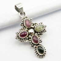 Natural Tourmaline CROSS Pendant 925 Sterling Silver Fashion Handmade Jewelry
