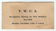 1910 EARL HALL Columbia University YWCA Meeting Card NEW YORK CITY Barnard NYC