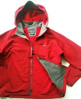 *HOT Men PATAGONIA @ POLYESTER HOODED FULL ZIP RED STRETCH RAIN & WIND JACKET XL