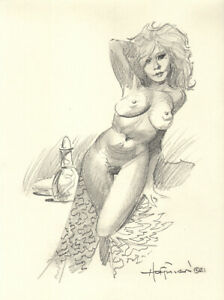 THE BLONDE PLAYMATE!  Original Art Pencil Drawing by Mike Hoffman!