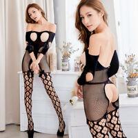 Sexy Lingerie Lady Open Bra Crotchless Fishnet Sleepwear Body stocking Jumpsuit