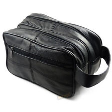 Large Black REAL LEATHER WASH BAG toiletries toiletry travel weekend GENTS  MENS ffce7a7af3d64