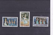 KAMPUCHEA : 1985 DANSES TRADITIONNELLES  SERIE COMPLETE 3 TIMBRES