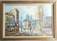 Edward BARTON- Antique Original Oil Painting Parisian Paris Street Scene Vintage