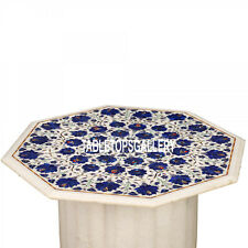30'' White Marble Coffee Table Top With Stand Lapis Inlay Living Home Deco H3546