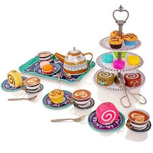 Childrens Metal Afternoon Tea-Set Play Food Toy Kitchen Teapot Cups Saucers Cake