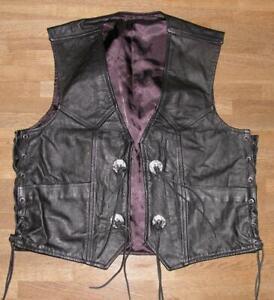 Strong: Men's Lace-Up Leather Vest / Biker Vest IN Black XL Approx. Size 52/54