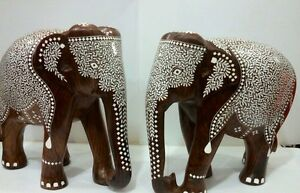 Rosewood Carved Two Indian Inlaid Elephants