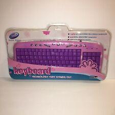 Girl Gear Pink & Purple Daisy Stylish USB Compact Keyboard For PC