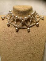Women's STATEMENT Big Large Beaded FAUX PEARL Choker Necklace Vintage Party