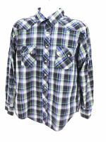 Wrangler Long Sleeve Pearl Snap Plaid Blue Button Up Western Shirt Mens Large