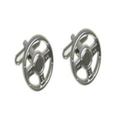 Silver Steering Wheel Cufflinks With Gift Pouch Car Steer Mechanic Present New