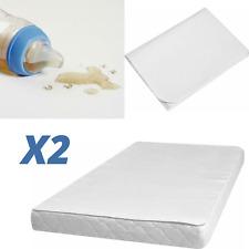 2X Waterproof Cotton ANTI-ALLERGY Cot Mattress Protector Sheet- 70x140cm - White