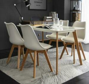 Modern White Dining Table With 4 or 6 Chairs - Black & White