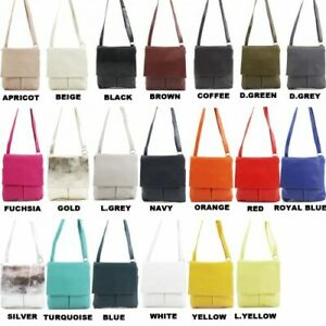 Women's Genuine Italian Soft Leather Double Pocket Cross body Messenger Bags