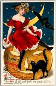 c1910s Winsch SCHMUCKER HALLOWEEN Postcard Girl Red Dress JOL Black Cat UNUSED