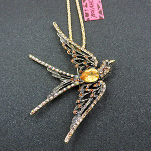 Betsey Johnson Gold Crystal Cute Swallow Pendant Necklace Sweater Chain/Brooch