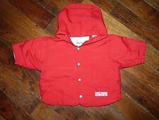 Imperméable rouge à capuche doublé - Sucre d'orge - 6 mois - Excellent état