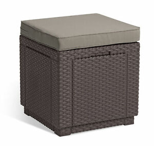 Allibert Hocker Cube braun - Rattanoptik, wetterfest, Garten, Outdoor