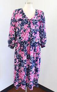 Vtg 90s Navy Blue Pink Floral Print Shirt Dress Size 20w 20 Retro Modest Midi