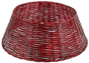 Large Christmas Tree Skirt Base 60cm Red Wicker Basket Style - Xmas Cover - New