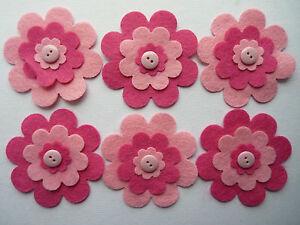 FELT FLOWER & BUTTON LAYERED EMBELLISHMENTS DIE CUT SHAPES pink