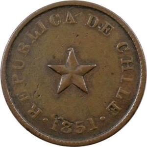 CHILE - 1/2 CENTAVO - 1851 - COPPER