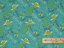 Frogland Friends Frog Ribbit Buzz Bee Dragonfly Fabric by the 1/2 Yard  #1059