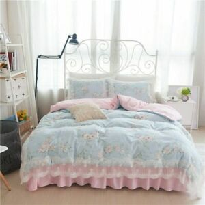 100% Cotton King Queen Twin Size Bed Skirt Set Bedding Set Duvet/Quilt Cover