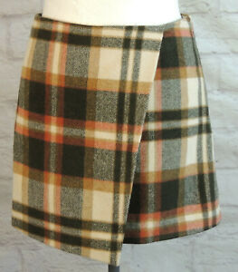 NEXT Wool Blend Checked Wrap Style Blanket  Skirt Size 18