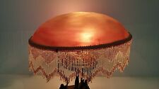 """Antique Cranberry Satin Glass Beaded Fringed Mushroom Dome Lamp Shade 16"""" WOW"""