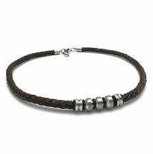 Equilibrium 7571 - Mens Brown Leather & Stainless Steel Necklace - 2 Designs