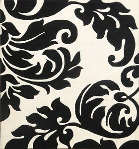 Contemporary Floral Square Oriental Area Rug Wool Ivory/ Black Carpet 6x6 ft New