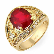 Estate ring 4.7 ct natural ruby and diamond 14k gold