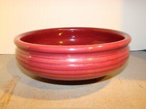 Vintage Bauer Monterey Maroon Burgundy 3 Footed Bowl
