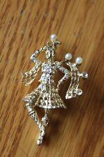 Irish Step Dancing Pin Brooch Moving dance rhinestone pearl gold filled vintage