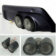 63mm Short 100% Real Carbon Fiber Matte Black Exhaust Tail Dual Twin Pipe Tips &