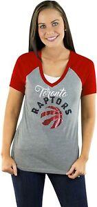 TORONTO RAPTORS GAMEDAY COUTURE NBA Raglan Sequin Drop V-Neck T-SHIRT WOMENS XL