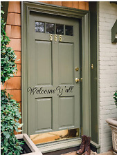 "Welcome Ya'll vinyl front back door decal 18.7"" X 5.7"", Black or White"