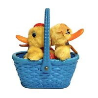 Vintage Mechanical Easter Fuzzy Ducks In A Blue Plastic Basket Windup Japan