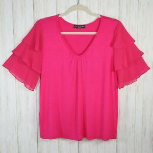 Kim and Cami Pink Rayon Knit Blouse Size Medium Womens Vneck Ruffle Sleeves