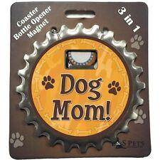 """Bottle Ninja 3 in 1 - Opener, Coaster, Magnet - """"Dog Mom"""""""