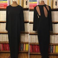 TOPSHOP BOUTIQUE dress UK 8 US 4 maxi column back cutout grey black minimalist