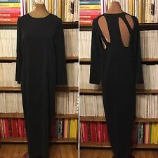 TOPSHOP BOUTIQUE maxi column dress back cutout UK 12 US 8 grey black minimalist