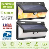 Solar Flame Lights 158 LEDs Wall Lamps Motion Sensor Waterproof Outdoor Garden