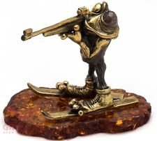 Solid Brass Amber Figurine of Biathlonist Frog with rifle and ski IronWork