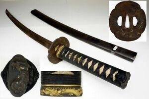 Authentic Antique Japanese Samurai Wakizashi Sword Nihonto Katana in KOSHIRAE